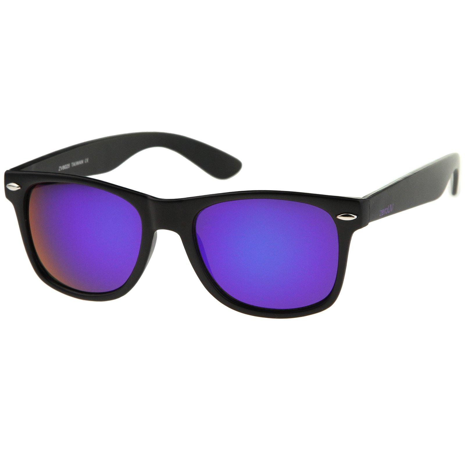 zeroUV - Retro 80's Classic Colored Mirror Lens Square Horn Rimmed Sunglasses for Men Women (Matte/Purple) by zeroUV