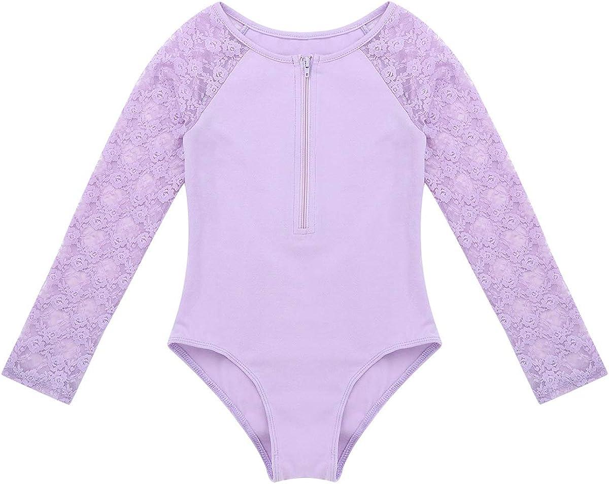ranrann Enfant Fille Justaucorps Danse Classique Dentelle Combinaison Gymnastique Manches Longues Body Sport Yoga Jumpsuit Tenue Patinage Artistique Dancewear 4-1 2 Ans