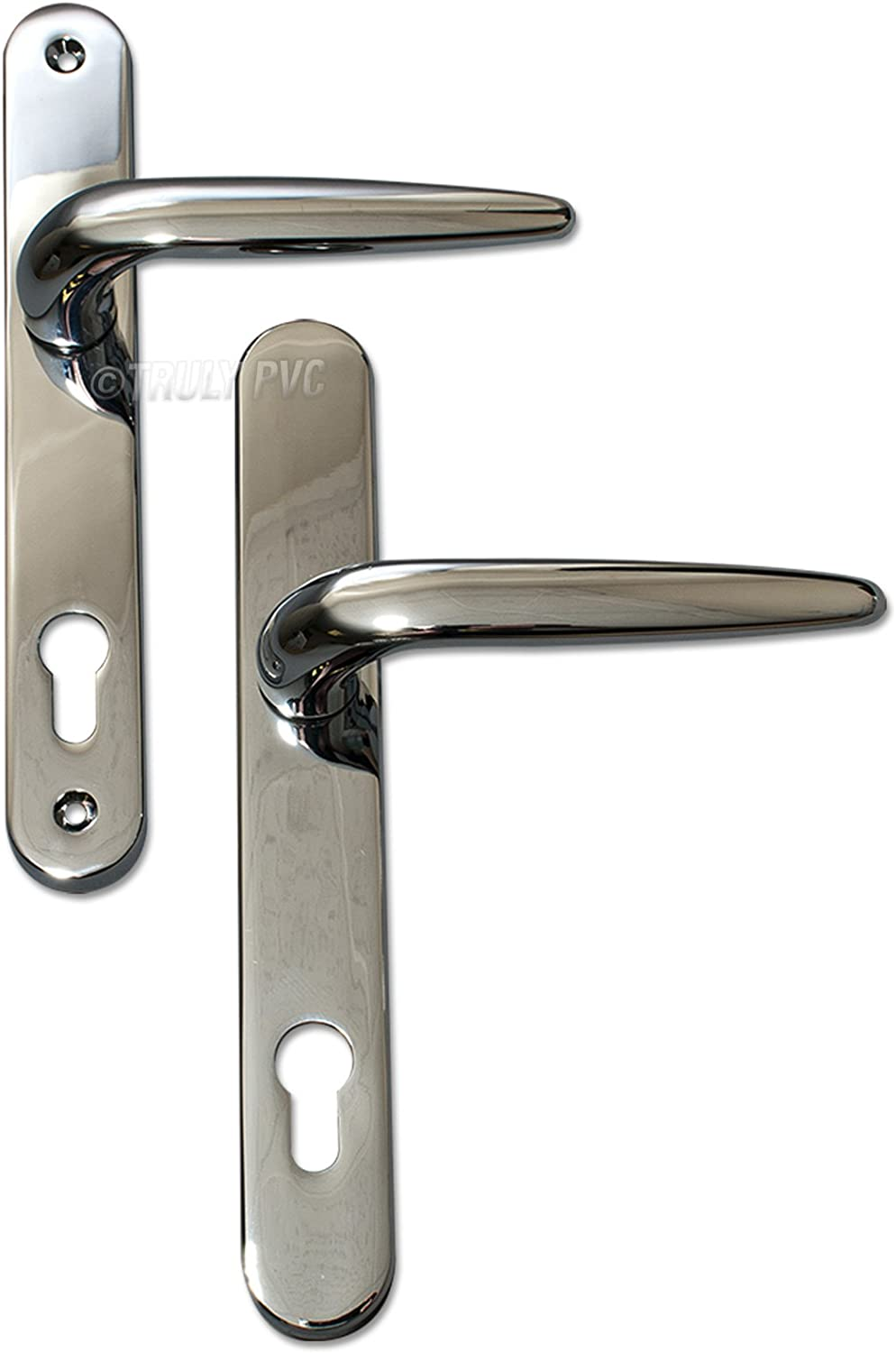 Pair of Trojan Sparta 92PZ Long backplate White Powder Coated Sprung Lever//Lever uPVC Door Handle Set by Sparta