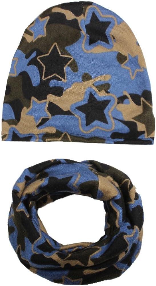 XXYsm Beanie M/ütze Bommel Loop Schal Baby Winter Outfits Kinder Jungen M/ädchen Sterne drucken O-Ring Schals Set