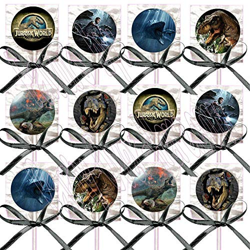 (Jurassic World Park Lollipops Party Favors - Decorations Movie Lollipops w/ Black Ribbon Bows Party Favors -12, Dinosaurs Tyrannosaurus Rex Dinos)