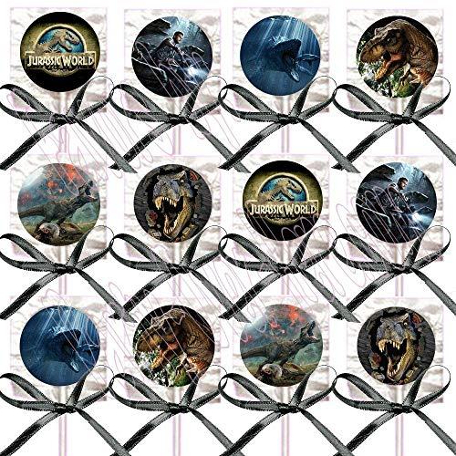(Jurassic World Park Lollipops Party Favors - Decorations Movie Lollipops w/ Black Ribbon Bows Party Favors -12, Dinosaurs Tyrannosaurus Rex Dinos)