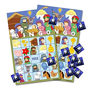 MORDUN Christmas Nativity Bingo Game Cards for Kids - 24 Players - Preschool Activity Religious Party Game for Classroom Family