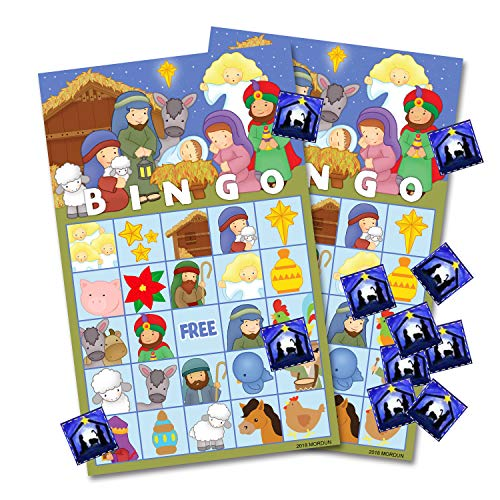 MORDUN Christmas Nativity Bingo Game Cards for Kids