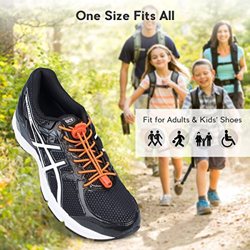 Shoes Quick 3 Kids Shoe Running Pairs Hiking with Elastic System Shoelaces for Running for Reflective Adults Tie Laces Orange No Lacing Lock and Climbing aq6qFf