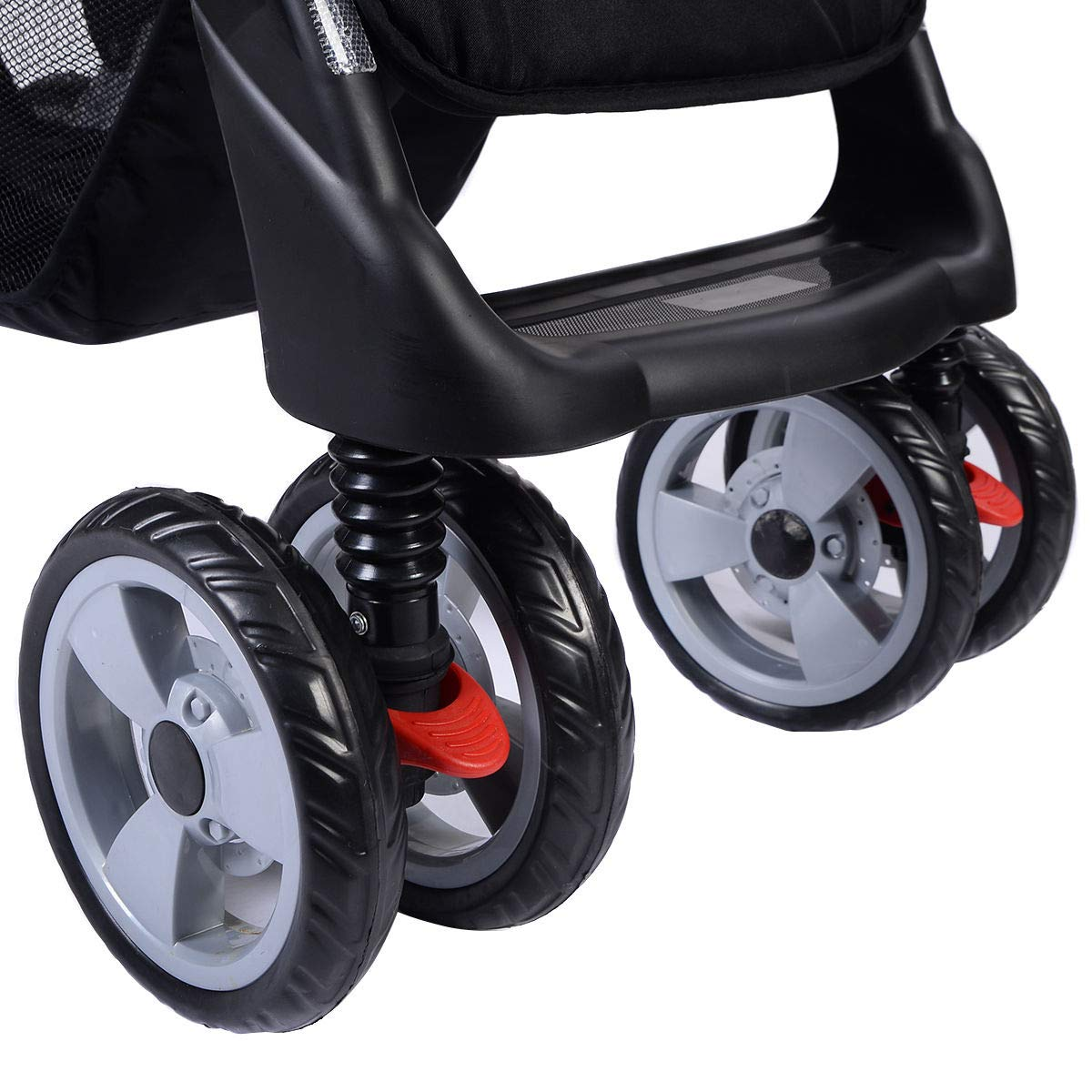 Foldable Twin Baby Double Stroller Kids Jogger Travel Infant Pushchair Gray by Apontus (Image #4)