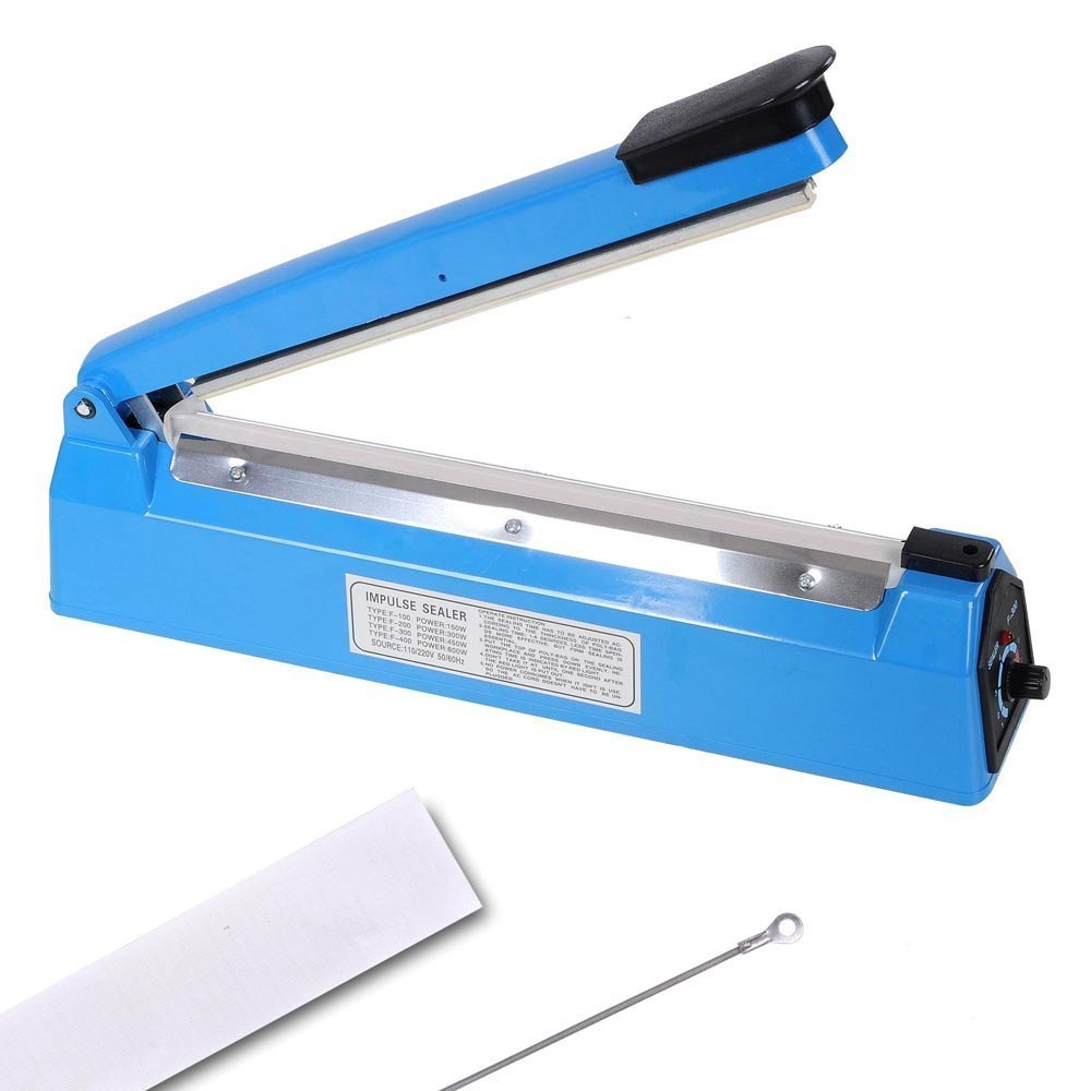 12-in Bag Sealer Handheld Heat Impulse Machine w/ Extra Teflon Sheet & Sealing Element 450w 110v Electric Power Appliance for Poly Tubing Plastic Manual Hand Press Home Kitchen Market Store Packaging