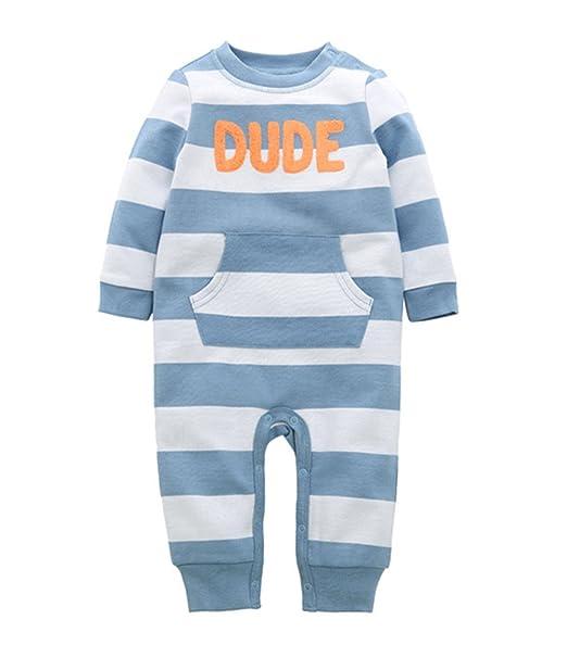 e39da691cde2 Amazon.com  Beide Baby Boys Long Sleeve Romper Stripe Cotton ...