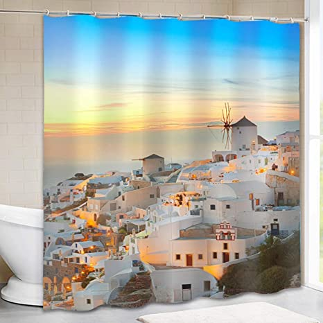 Santorini Shower Curtain - Aegean Sea White House in Blue and White on designer modern curtain design, white house windows design, white house paint design,