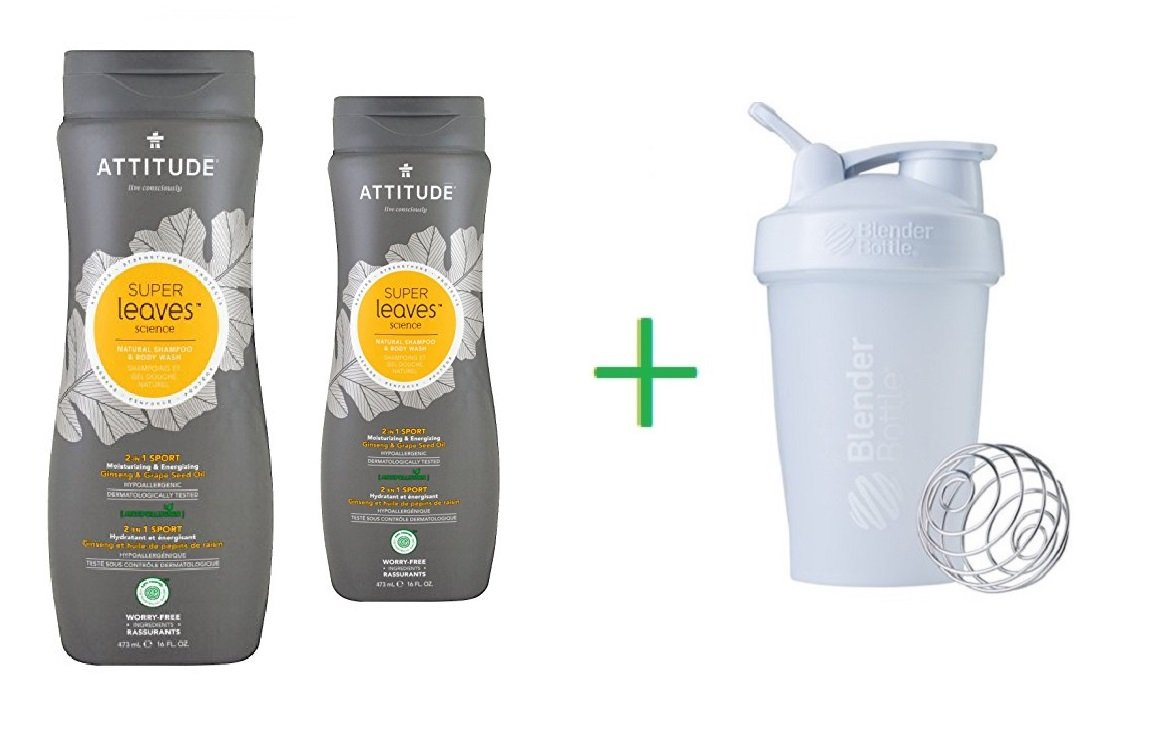 ATTITUDE, Super Leaves Science, Natural Shampoo & Body Wash, 2 in 1 Sport, Ginseng & Grape Seed Oil, 16 oz (473 ml) (2 Packs) + Sundesa, BlenderBottle, Classic With Loop, White, 20 oz