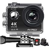 AKASO Action Cam, 4K WIFI Action Camera/onderwatercamera 170 ° Ultra groothoek Full HD sportcamera met 12 MP 2 inch LCD-scherm 2.4 G afstandsbediening