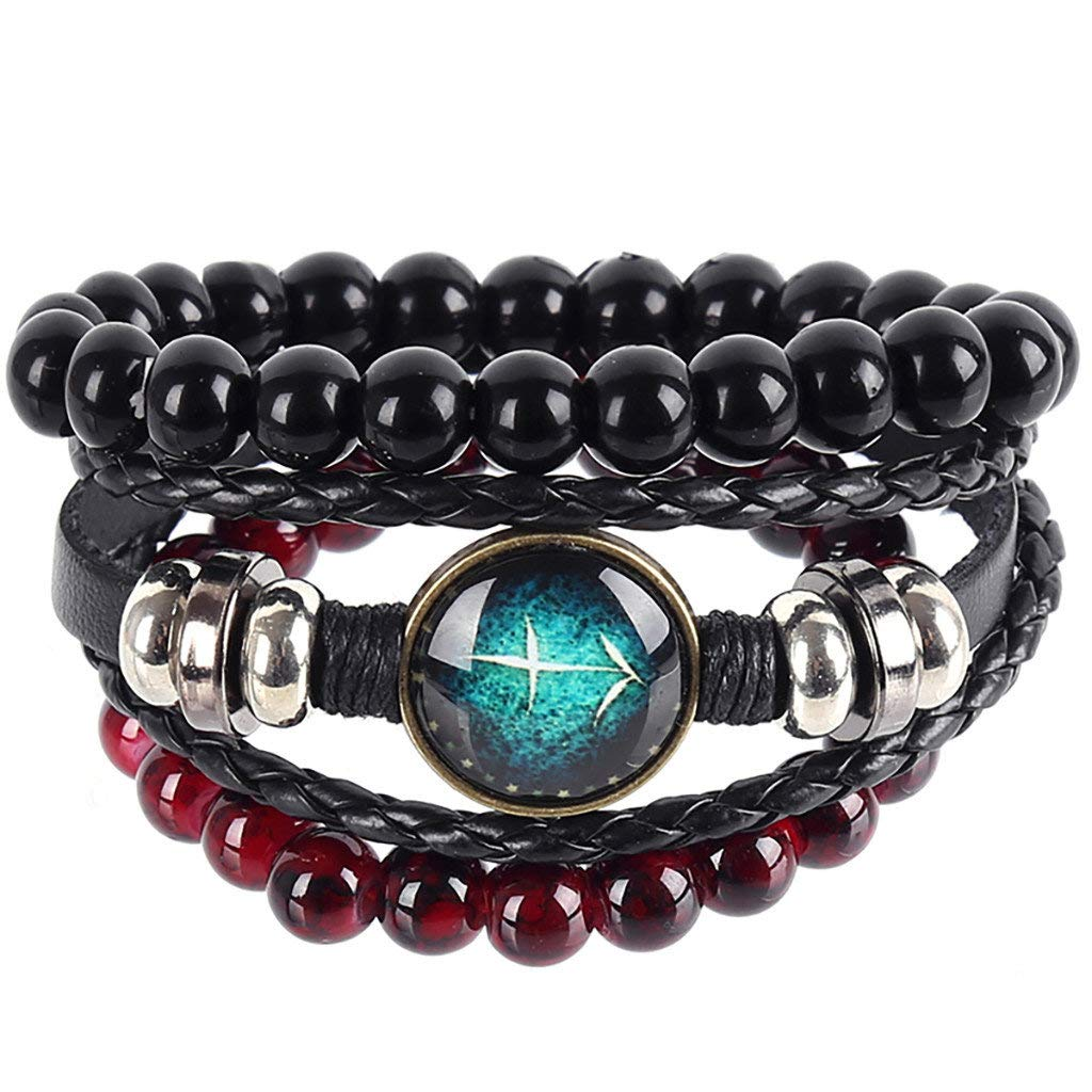 CCOOfhhc Braided Twelve Constellations Bracelet Vintage Multi-layer Leather Bead Adjustable Layer Bracelet Jewelry for Men Or Women