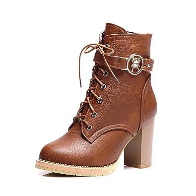 Ladies Chunky Heels Bandage Rivet Yellow Imitated Leather Boots - 6.5 B(M) US