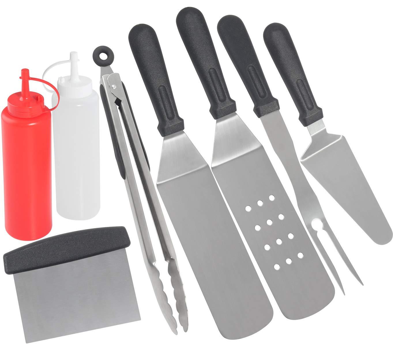 grilljoy 8 Piezas de Accesorios de Plancha con Caja de Envoltorio de Regalo - Espátula de Plancha de Acero Inoxidable Juego con Mango Resistente al ...