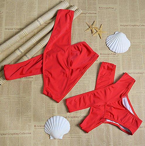 Nulibenna Bandage Halter Push Up Cross Criss Cut Out 2 Piece Bikini Swimsuit