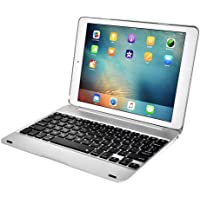 Everpert Bluetooth Keyboard Cover w/Dormancy for New iPad PRO9.7 Air2/1 (Silver)