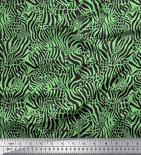 Soimoi Green Cotton Cambric Fabric Zebra & Leopard Animal Skin Print Fabric by The Yard 42 Inch Wide ()