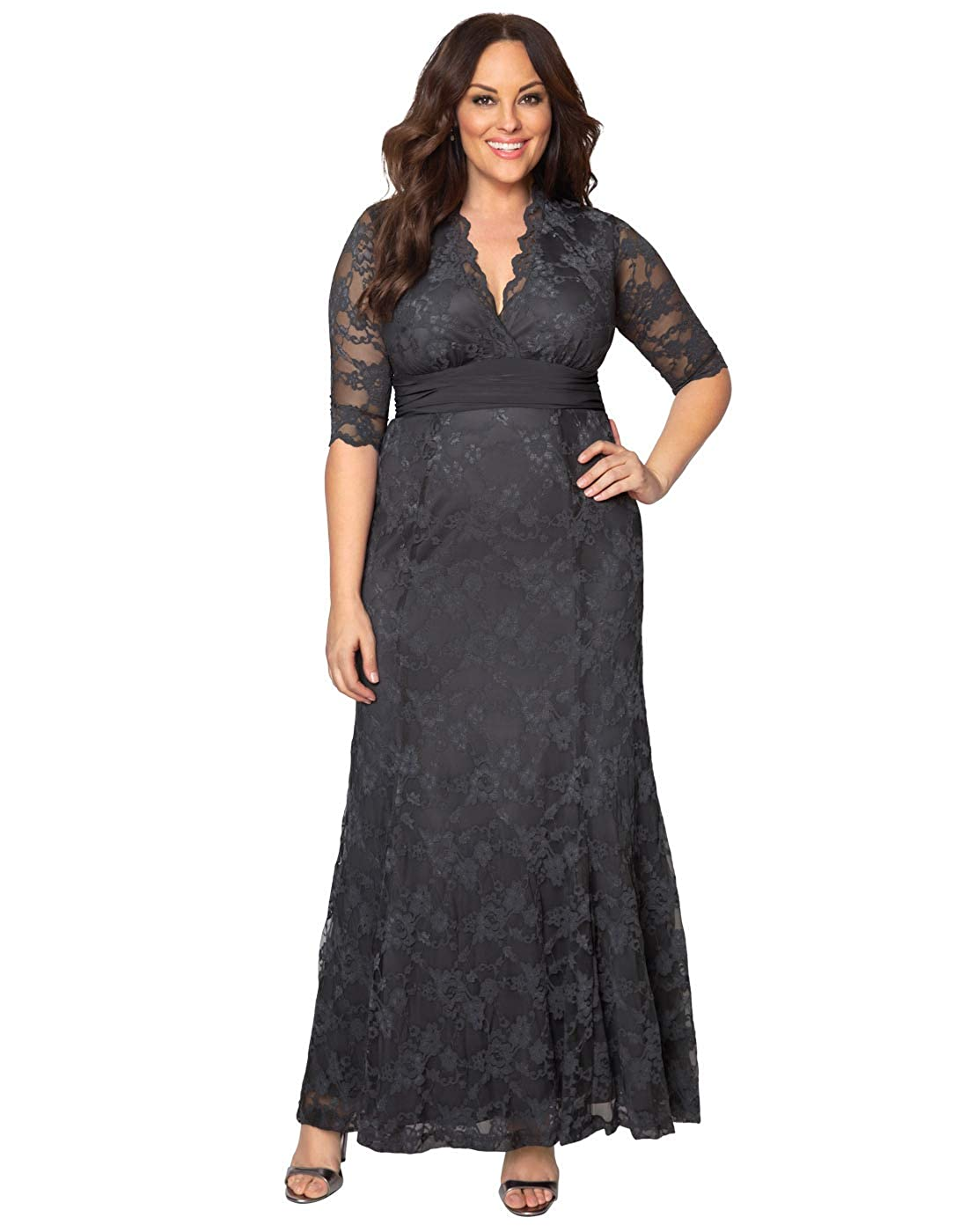 130f41174c2 Amazon.com  Kiyonna Women s Plus Size Screen Siren Lace Gown  Clothing