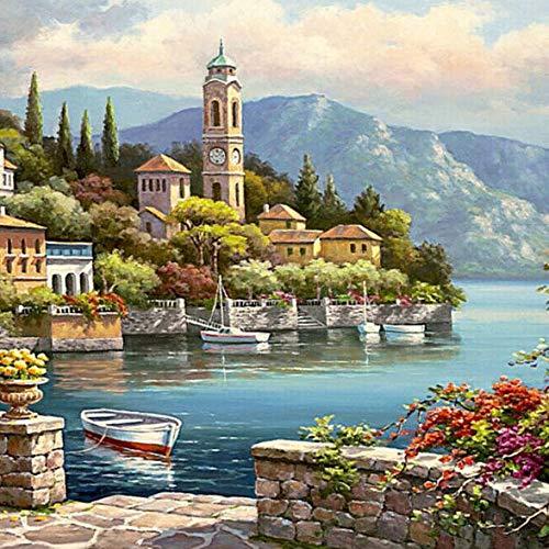 Decorative Painting Single Paintings - 40X50CM Frameless Romantic Harbour Canvas Linen Canvas Oil Painting Paint By Numbers - 1 x 40X50CM Frameless Canvas Painting DIY Suit (Packe