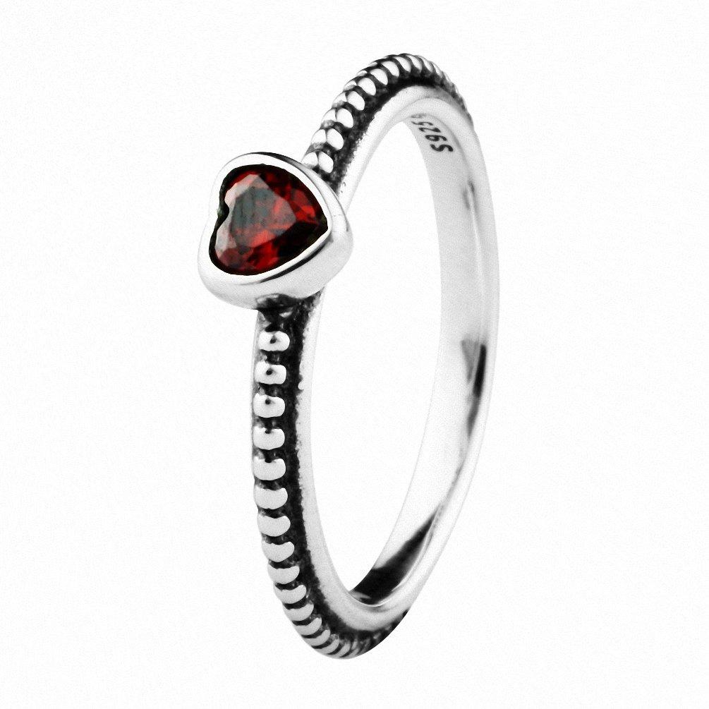 CHANGEABLE Anelli da Donna Argento Sterling 925 Misura anello 12 (cuore del nastro con il rosso rubino) TAOTAOHAS RIP110B-52