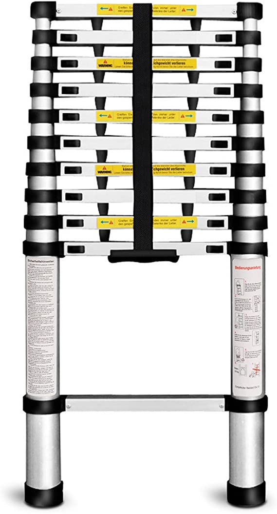 Langria Leiter 3 2m 10 5ft Teleskopleiter Aluminium Haushaltsleiter En131 Zertifiziert 11 Stufen 150 Kg 330lbs Kapazität Baumarkt