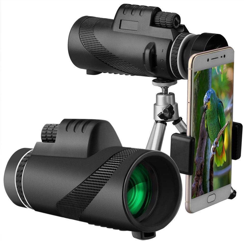 Monocular de Alta Potencia Redcolour/® 40 x 60 HD, visi/ón Diurna y Nocturna, Doble Enfoque, telescopio, Prisma, telescopio