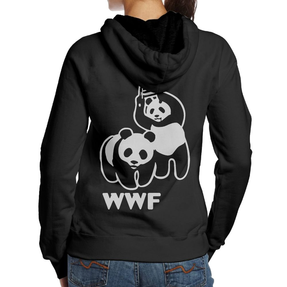 LXMHHoodie WWF Funny Panda Bear Wrestling Womens Hoodies Back Print Hooded Sweatshirt by LXMHHoodie