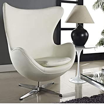 Fauteuil Design Egg.Hogar Decora Sillon Egg Chair Swivel Eco Leather White Design 1958