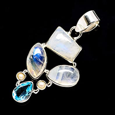Solid 925 Sterling Silver Jewelry Natural Dyed Rainbow Moonstone Handmade Pendant