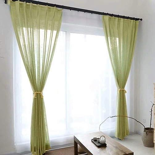Leadtimes Luxury Green Heavy Linen Sheer Curtain