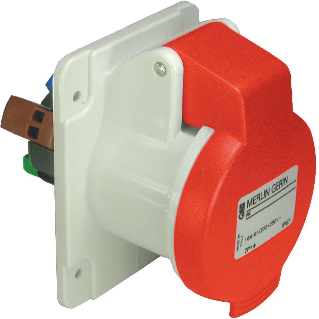 Schneider electric pky32g435 Papillote prises de la base de poche droite, 3p + n + t pô les, IP44, 32 A, 50/60 Hz, 380/415 V, rouge 3p + n + t pôles 32A 50/60Hz 380/415V