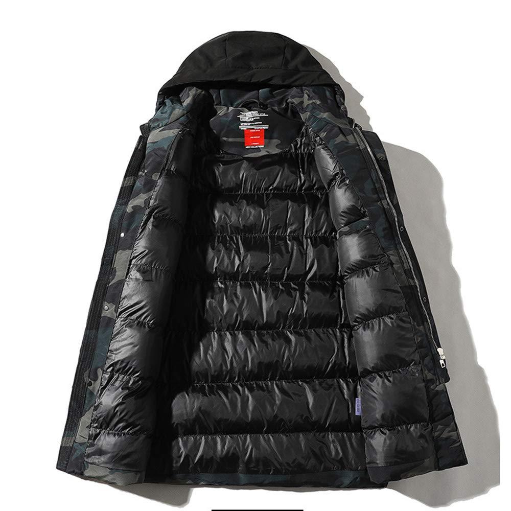 Oyzed Veste Homme pour l'hiver, la Mode Manteau, imperméable et Coupe-Vent Froid Chaud épais Manteau à Capuchon Manteau camouflagegray