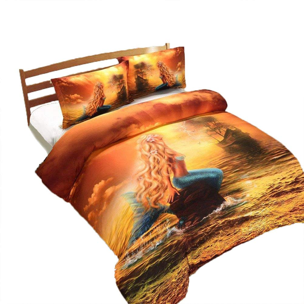 BeddingWish 3D Horse Modern 3pcs Bedding Sets Queen Size 1 Bed Cover 2 Pillowcases, 3D Horses Printing Pattern Duvet Covers Sets Queen Size (No Comforter) HQNT