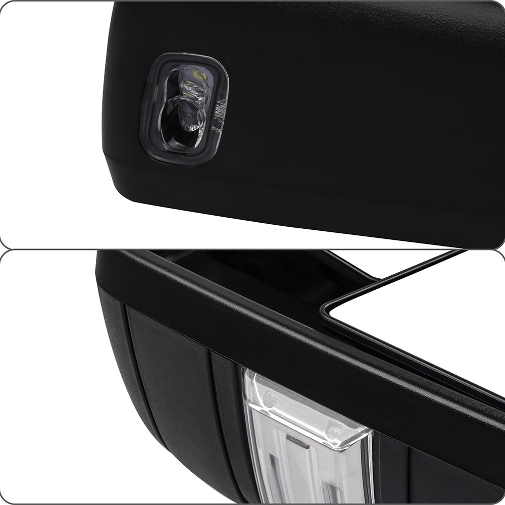 A Pair of Exterior Automotive Mirrors Replacement fit 2015-2017 Ford F-150 with Auxiliary//Puddle//Clearance Lights Signal Indicator and Power Operation Heated Chrome Housing 065183-5211-1455533391 ECCPP F150 Towing Mirrors