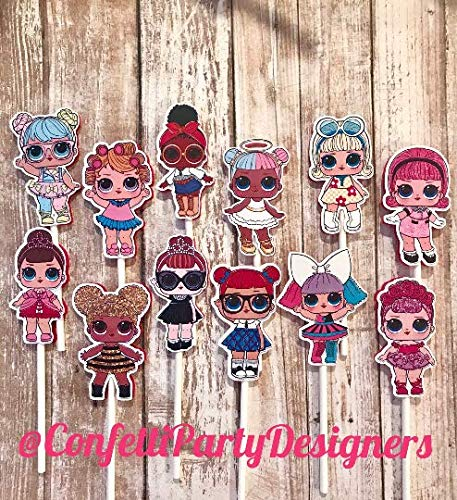 - 12 LOL Dolls Cupcake Toppers