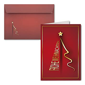 15x Weihnachtskarten Din A6 Design Weihnachtsbaum Gold Mit Brief Umschlagen Din C6 Farbe Dunkelrot Weihnachtliches Motiv Frohe Weihnachtenfur