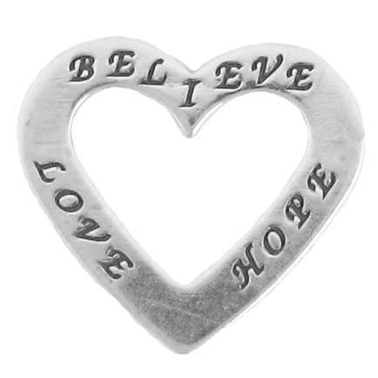 Sterling Silver 30'' Men's 1.5mm Two Sided BELIEVE LOVE HOPE Heart Shaped Slide Pendant Necklace