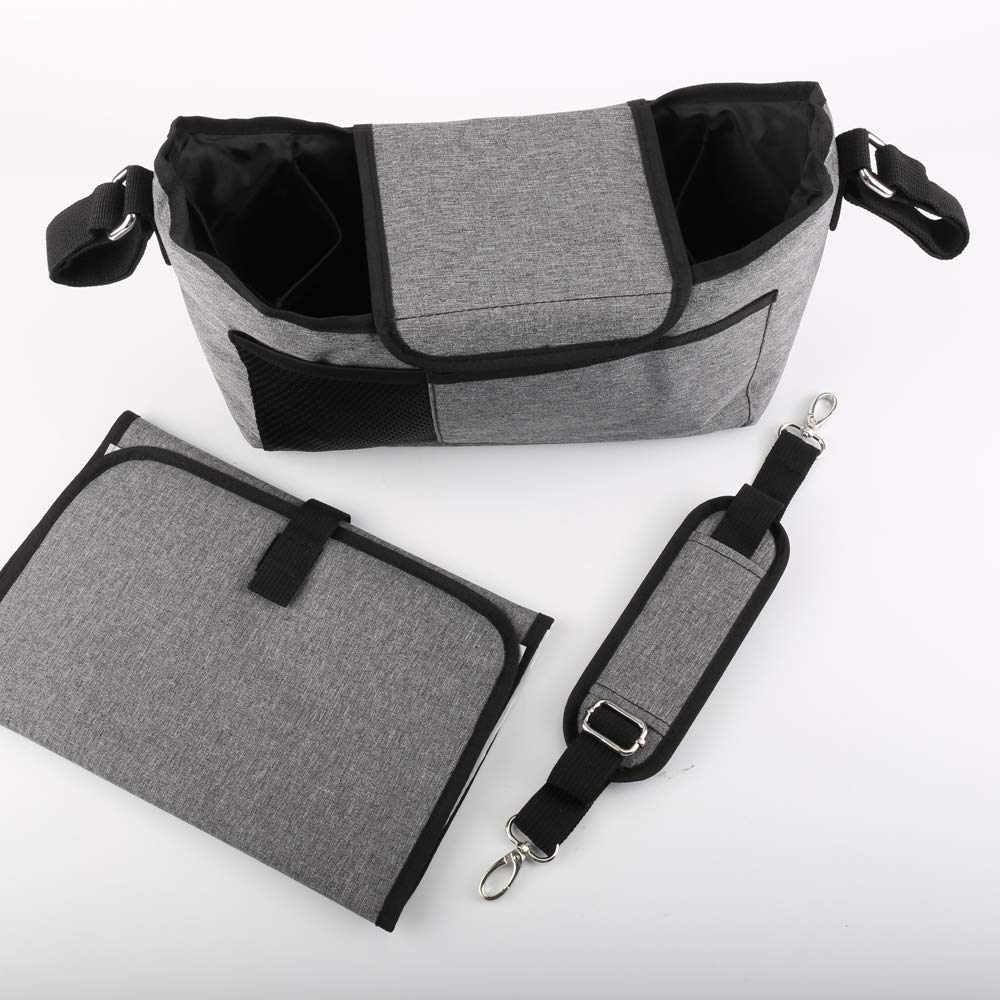 Baby Stroller Organizer:Universal Baby Jogger Stroller Organizer with Changing Mat and Shoulder Strap,Stroller Caddy