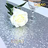 LQIAO Sequin Table Runner Silver 12x108-in, Factory Best Sparkly Table Runner High End Party/Wedding/Christmas Decoration, Pack of 20 PCS