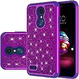LG K30 Case, LG Phoenix Plus Case,LG Premier Pro LTE Case,LG K10 Alpha,LG K10 2018 Case, Yiakeng waterproof Glitter Hard Slim for Girls Women wallet Phone Cases Cover (Purple)
