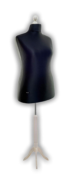 LUCCESI Schneiderpuppe Schneiderbüste Damen Herren Größe Größe S, M, M-L, L, L XL (42-44), XL Büste mit Bezug in schwarz und Standfuss weiss