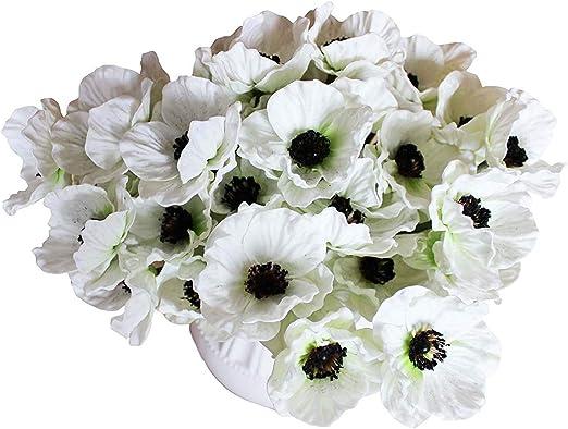 Artificial White Poppy Silk Flowers Home Garden Wedding Decor Craft Fake Flower