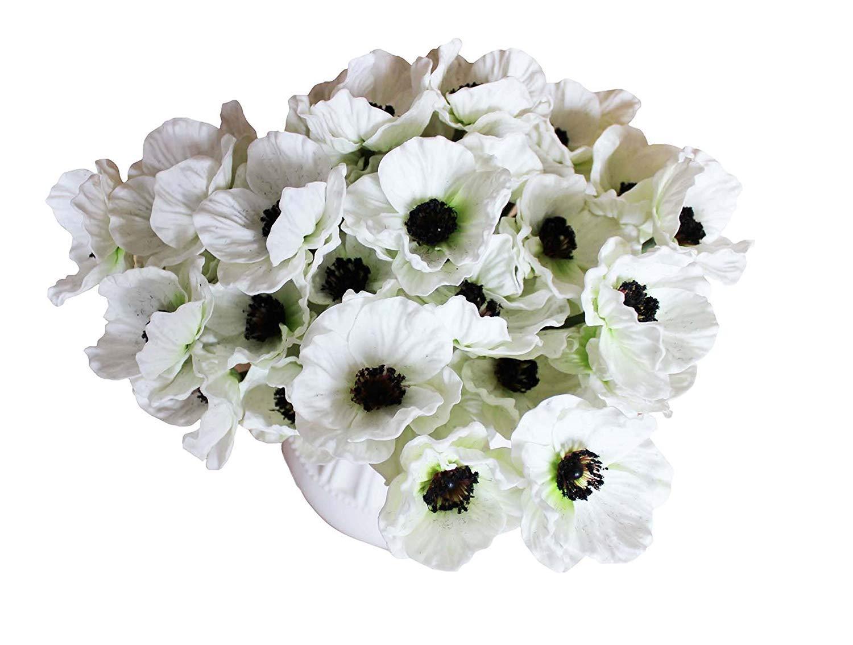 12本 人工ポピー リアルタッチ PUフェイクラテックスフラワー 結婚式 ホリデー ブライダルブーケ ホームパーティー 装飾 B07H1WCFL5 ホワイト