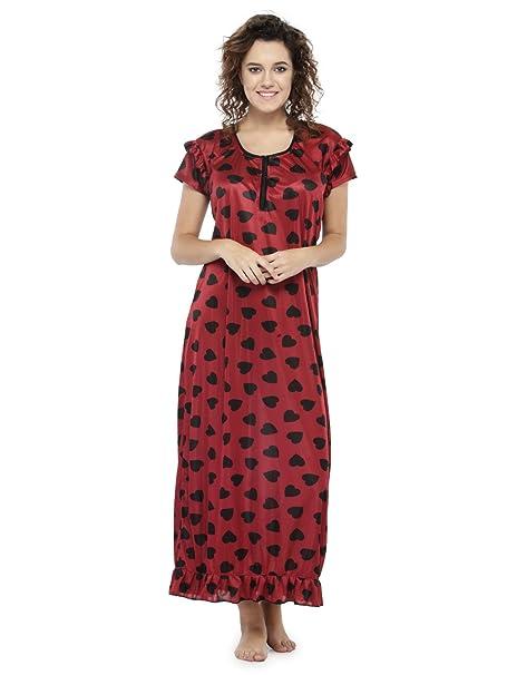 a26423c71d ZOZOI Women Maroon Printed Maxi Nightdress Long Night Gown Ladies Maxi Dress