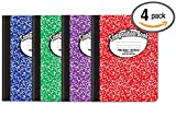 Composition Book Notebook - Hardcover, Wide Ruled (11/32-inch), 100 Sheet, One Subject, 9.75'' x 7.5'', Assorted Covers: Red, Blue, Green, Purple-4 Pack