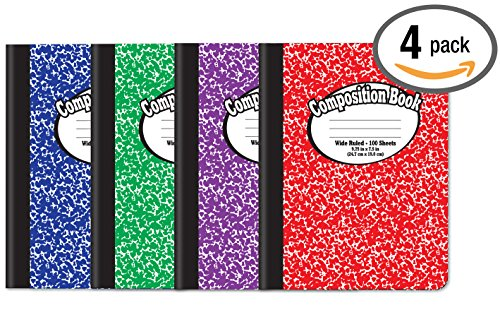 """Composition Book Notebook - Hardcover, Wide Ruled (11/32-inch), 100 Sheet, One Subject, 9.75"""" x 7.5"""", Assorted..."""