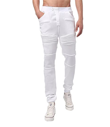 MODCHOK Homme Pantalon Jogging Sarouel Survêtement Sweat Pants Sport Longue  Slim Fit Blanc S cad12aad980