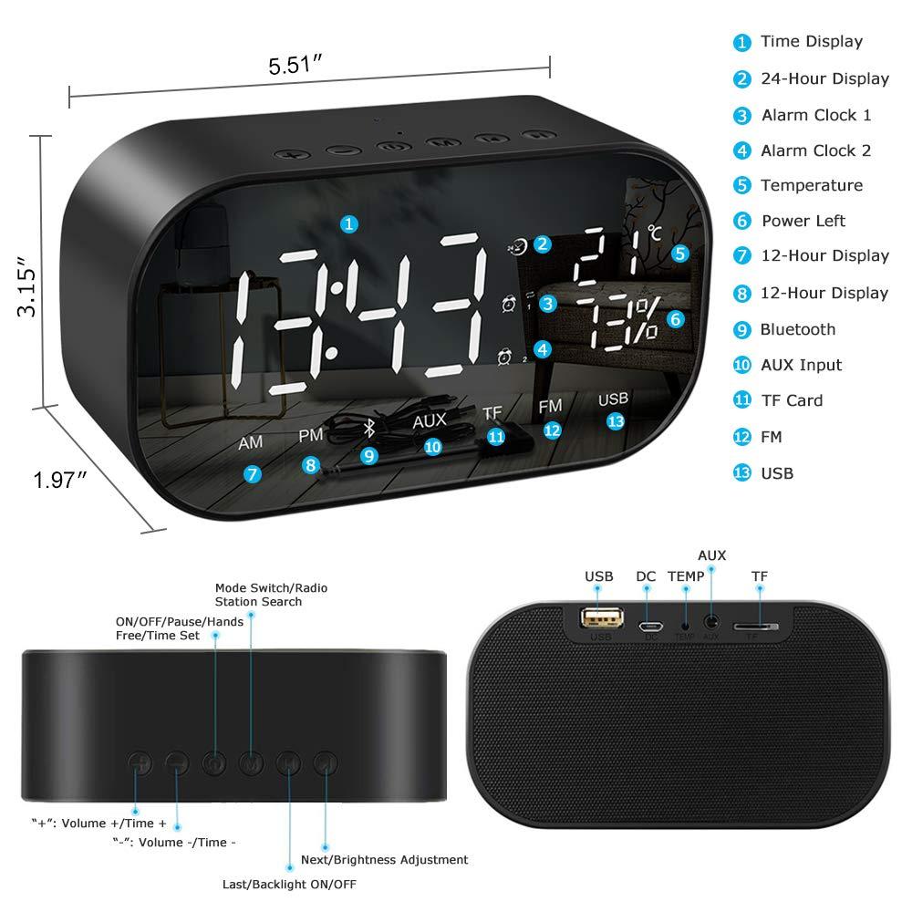 Despertador Digital, SUMGOTT Reloj de Mesa con Radio FM y Altavoz Bluetooth, Alarmas Dual y Temperatura, Pantalla LED de 5.5 con Atenuador, Manos Libres, ...