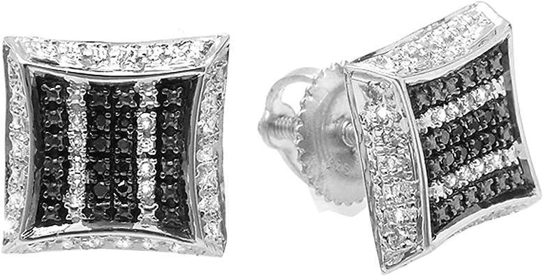 0.10 Carat White /& Black Round Diamond Micro Pave Setting Kite Shape Stud Earrings 1//10 CT ctw