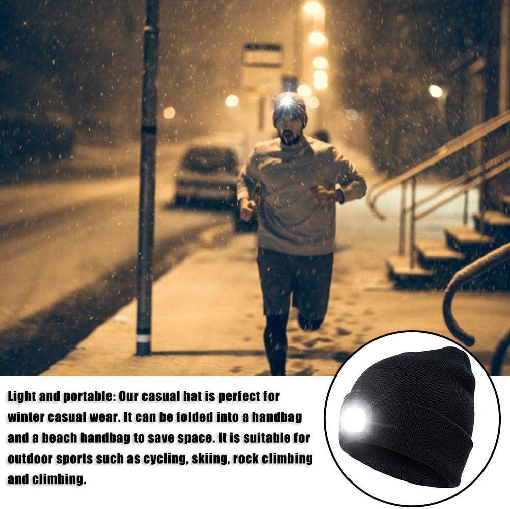 Warme Outdoor Beleuchtete Strickm/ütze Mit LED-Licht Pullover Kappe dewdropy LED Beleuchtete M/ütze